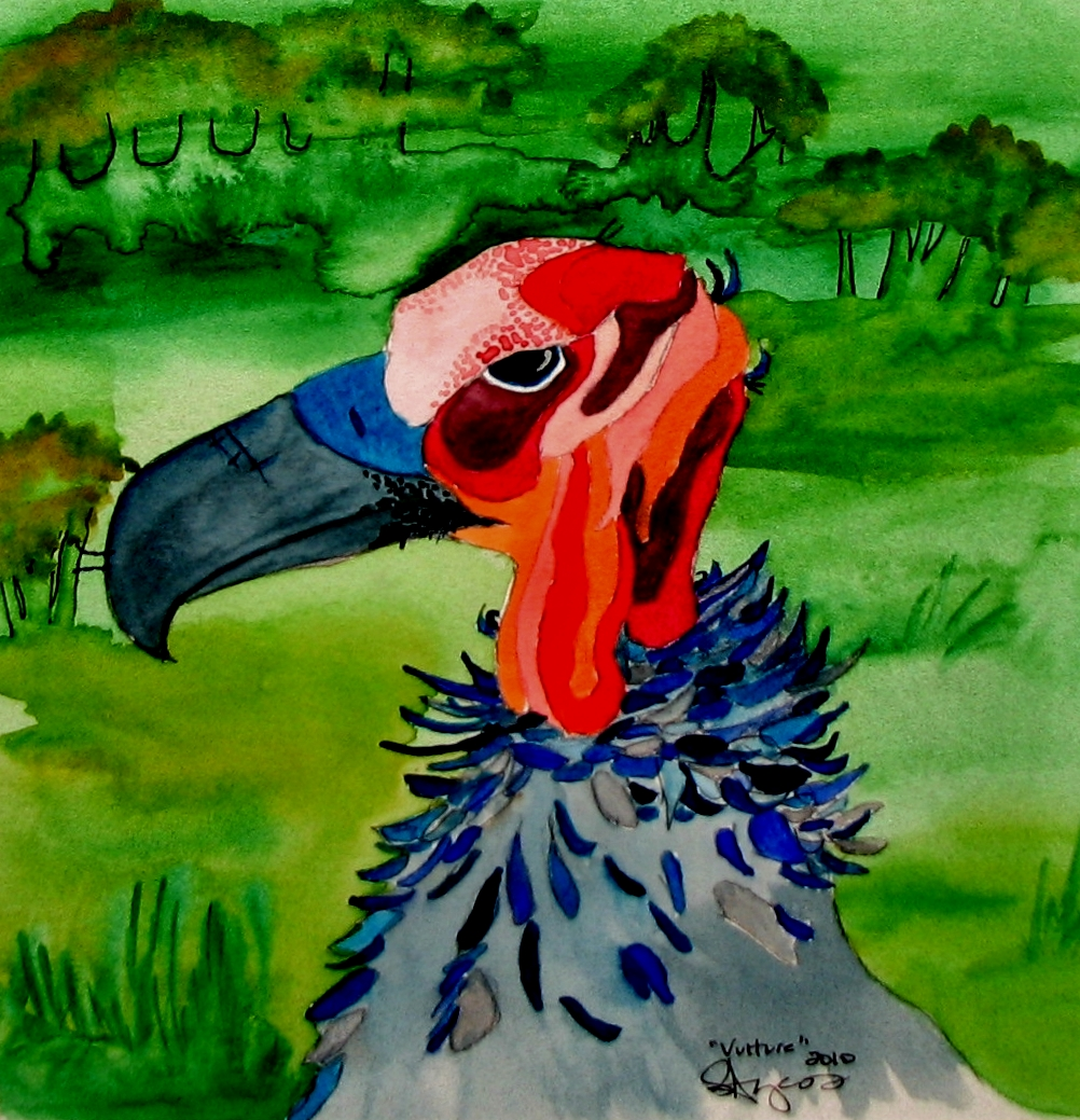 Watercolor painting of vulture one in a series by Stephanie Ayers