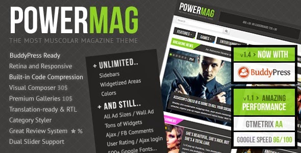PowerMag v1.9.1 – The Most Muscular Magazine/Reviews Theme