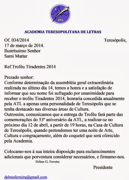 Academia Teresopolitana de Letras (ATL) entrega Troféu Tiradentes 2014 dia 12/04 à Sami Mattar