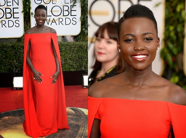 Poy、 Lupita Nyong'o 、 Fei Fei Sun all  in Ralph Lauren 2014 red silk cady cape dress