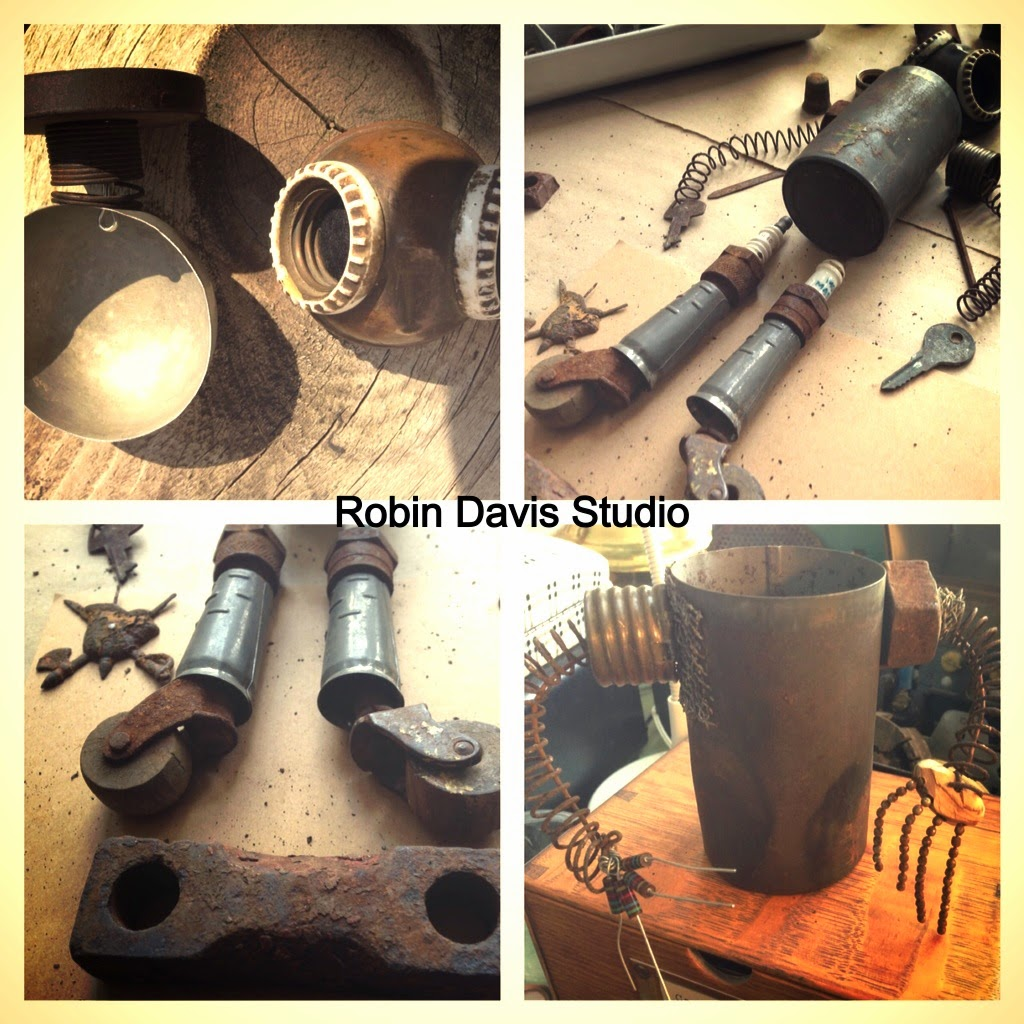 using rusty vintage items I love to create art robot pieces | Robin Davis Studio