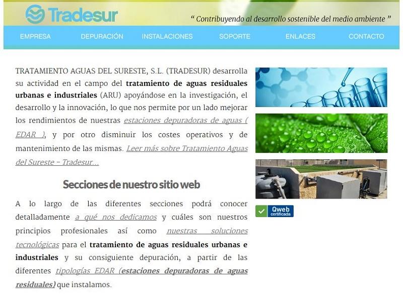 Captura de pantalla de la página de inicio de www.tradesur.es
