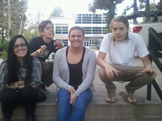 Dylan sprouse dylan and cole sprouse with lucky fans on danimals set this is another great pic taken by fans this time these lucky girls meet our boys dylan and cole sprouse on set for their new danimals commercial with shake m4hsunfo