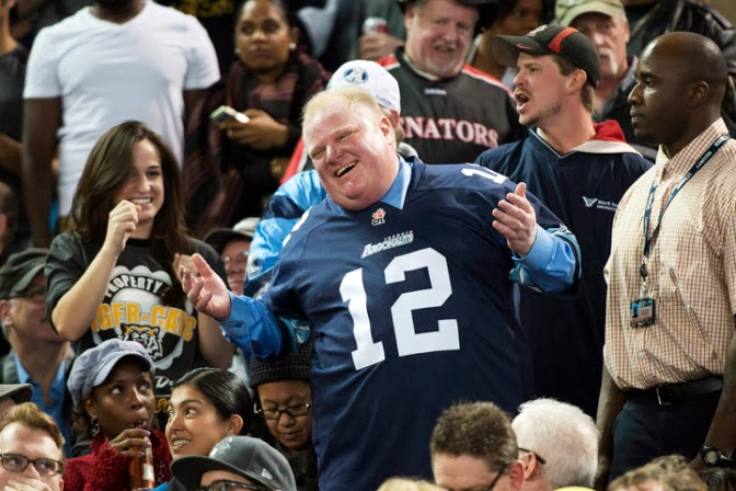 Rob Ford, CFL Eastern Conference final football game in Toronto Sunday 13-11-17.
