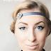 Dramatic blue winged eyeliner