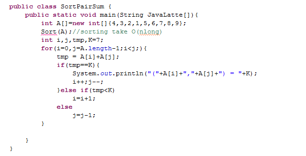 java latte given an integer array find all pairs that