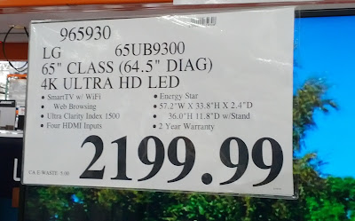 Deal for the LG 65UB9300 65 inch LED HDTV at Costco