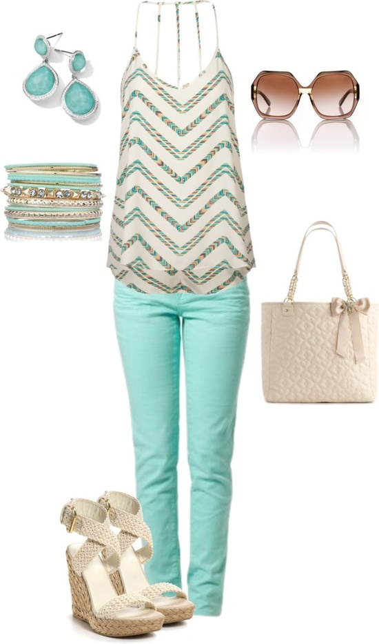 Loose blouse, mint pants, sunglasses, high heels and hand bag for ladies