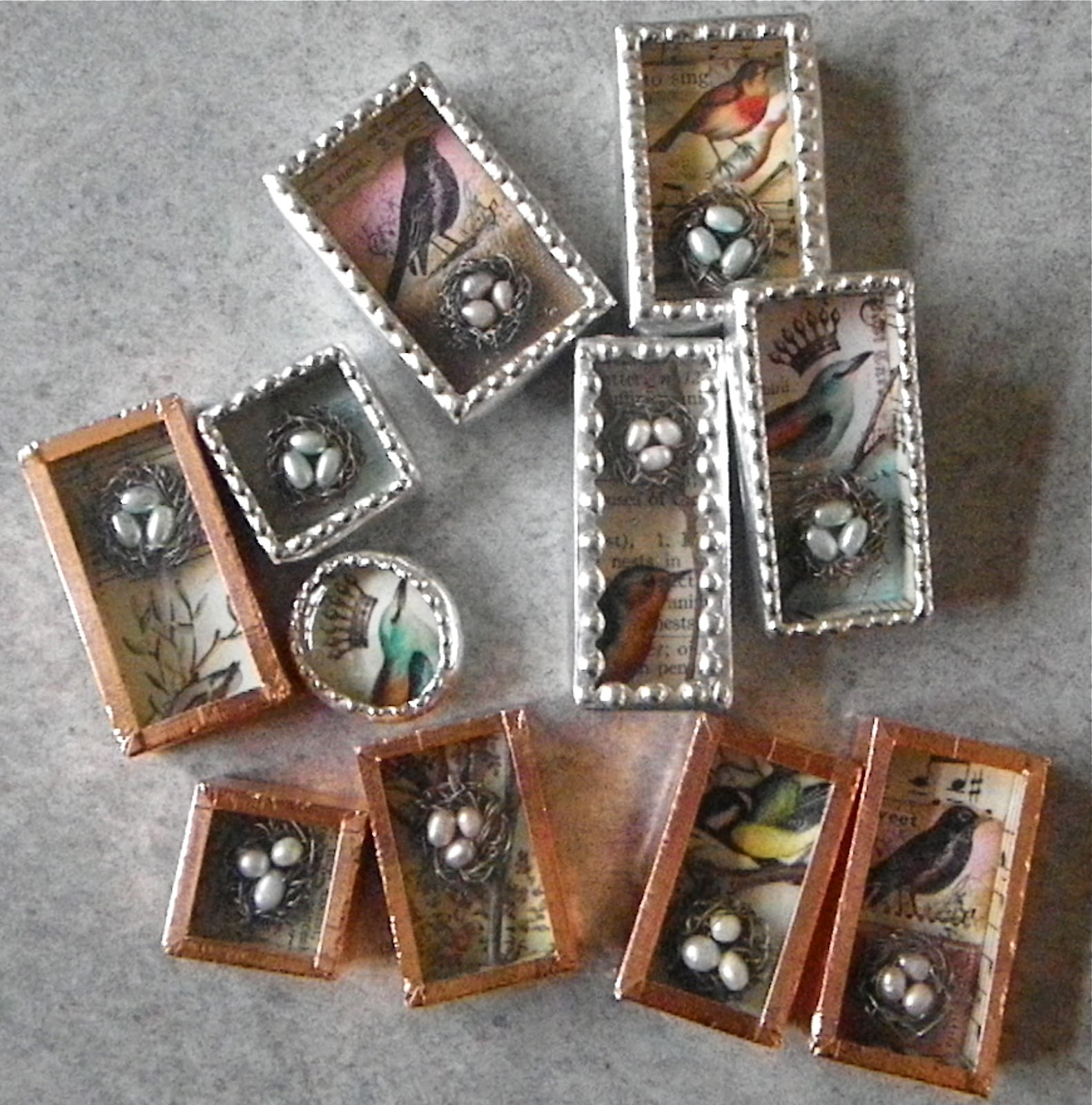 The mag rag shadow boxes little birds nests some soldered some not yet aloadofball Images