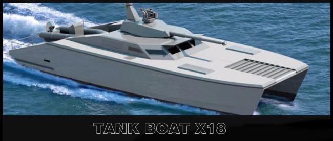 Gambar desain dan bentuk Tank Laut X18 super canggih produk PT Lundin Industry Invest, Banyuwangi, Jawa Timur, Indonesia.
