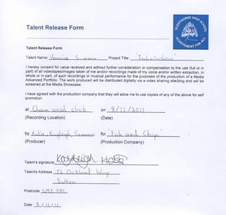Artist Release Form   Katie Lee Talent Release Form