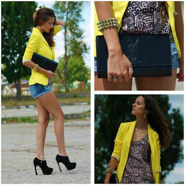 Look: Shortinho jeans e blazer feminino