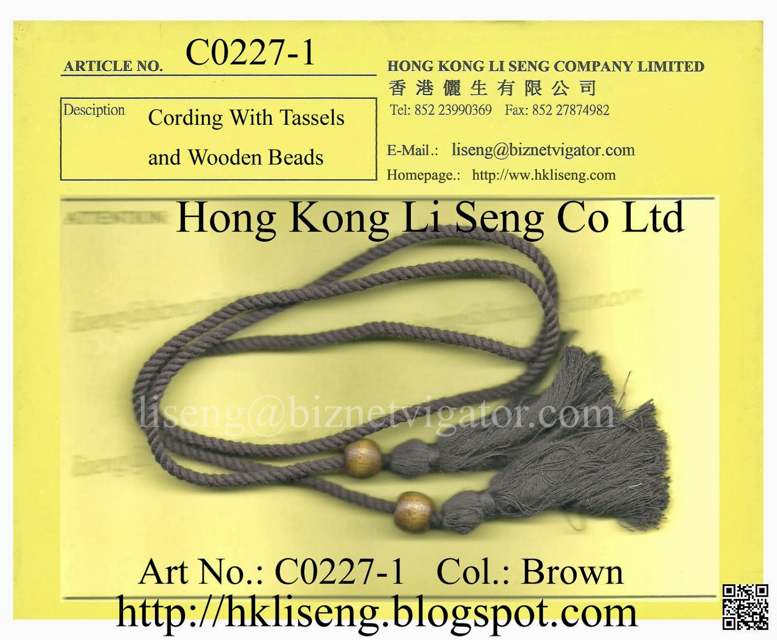 Cording With Tassels and Wooden Beads Manufacturer