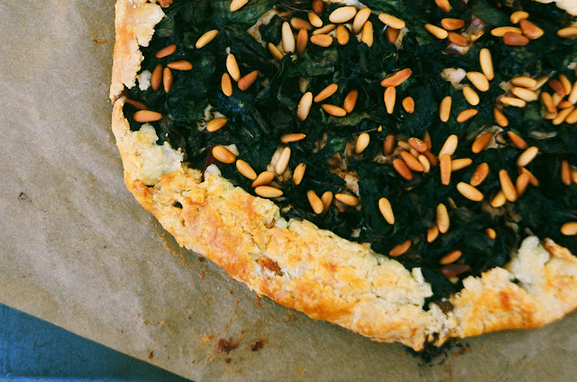 Swiss Chard & Goat Cheese Galette with Pine Nuts