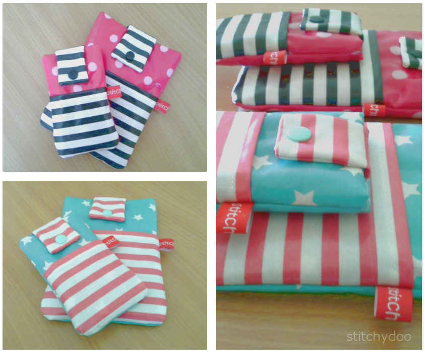 Handýtasche, Smartphone Hülle und eReader / Kindle Hülle in Schwarz/Weiß und Pink sowie Koralle und Türkis - knallfarben - stars and stripes