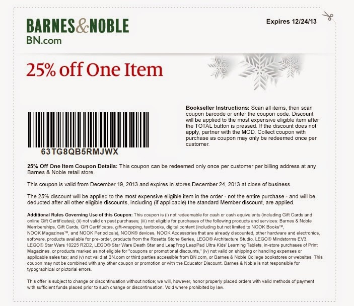 Barnes and noble discount coupons in store