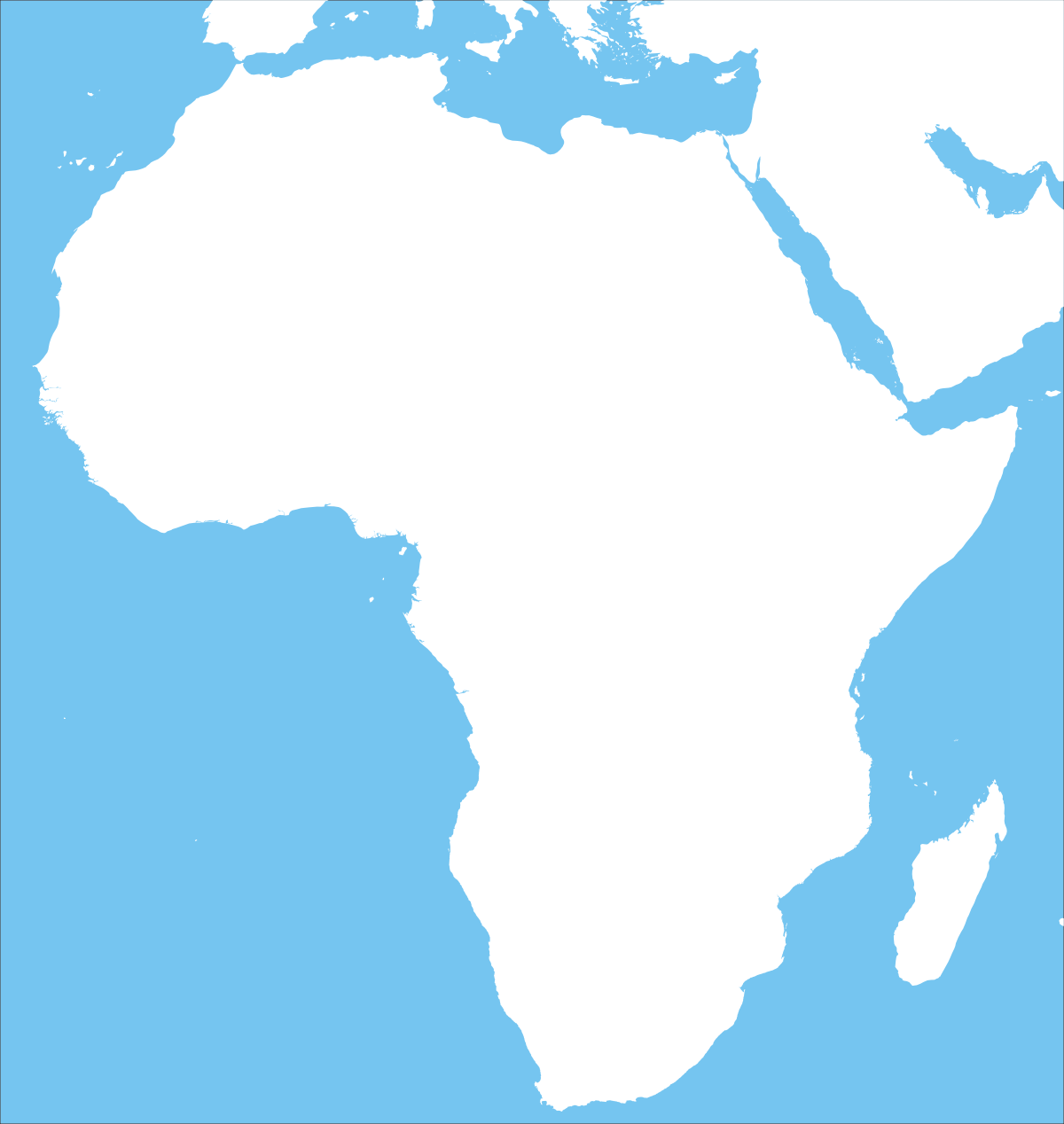 All blue blank Africa map outline image.