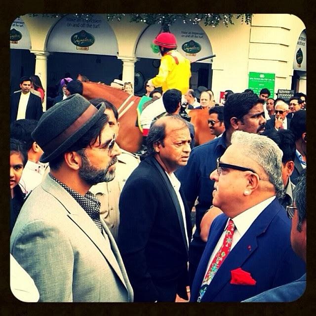 Akshay Kumar at  Bombay's Sunday races with Vijay Mallya