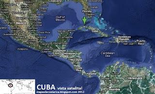Cuba en Centroamerica y el Caribe, vista satelital 2012