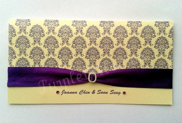 Royal Purple Wedding Invitation Card,  ivory pearl card, purple satin ribbon, pearl buckle, purple rhinestones, wedding invitation cards, royal purple card, royal purple ribbon, royal purple