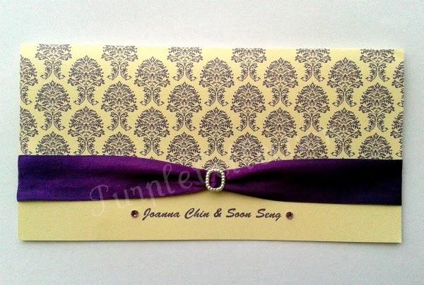 Royal Purple Wedding Invitation Card,  ivory pearl card, purple satin ribbon, pearl buckle, purple rhinestones, wedding invitation cards, royal purple card, royal purple ribbon, royal purple, damask, malaysia, kuala lumpur, buckle, rhinestone, marriage, decoration
