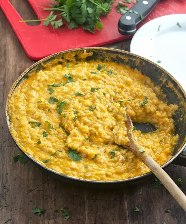 Creamy Pumpkin Garlic Rice