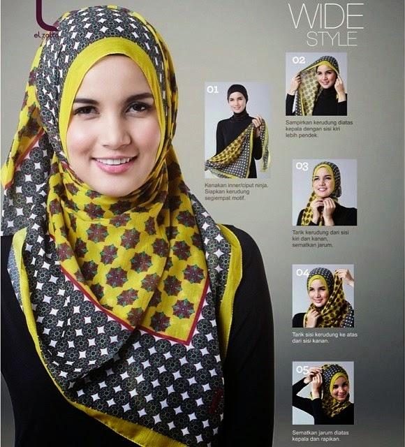 Kreasi Model Hijab Elzatta Segi Empat Tutorial Jilbab Modern