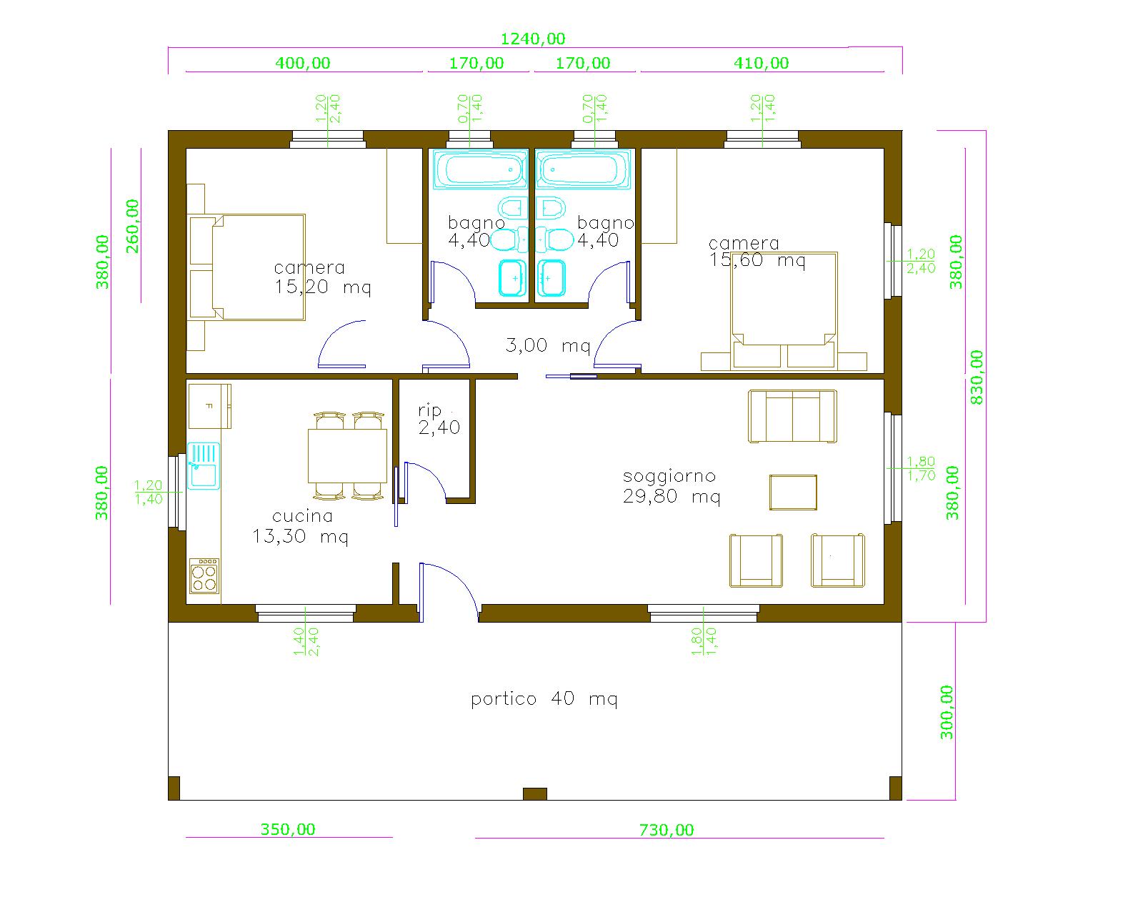 Progetti di case in legno - Progetto casa 40 mq ...
