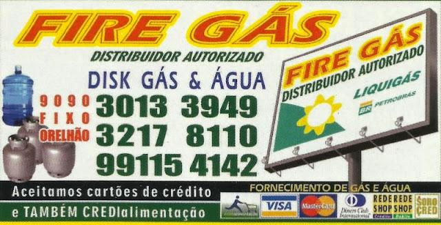 FIRE GÁS DISTRIBUIDOR AUTORIZADO Água e Gás Rua. Leo Migliori, 51 Wanel Ville IV - Sorocaba - SP tel: (15) 3013-3949 / 3217-8110 Cel: (15) 99115-4142