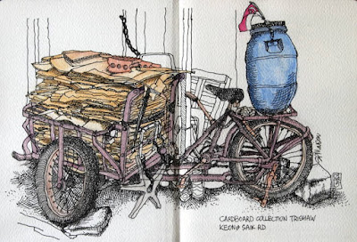 Cardboard collection trishaw sketch, Keong Saik Rd