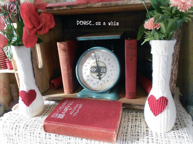 vase, valentine, thrift, sweater, craft