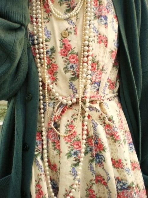 Floral + Cardigan + Pearls