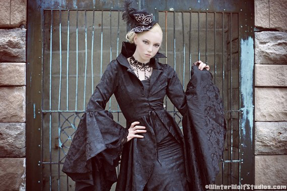 Stardust Gothic Steampunk Black Corset Fishtail Skirt and Jacket