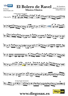 Partitura de El Bolero de Ravel para tocar con tu instrumento musical Partitura del Bolero en  clave de Fa para   Viola Chelo Fagot Tuba Bombardino Music ScoresMaurice Ravel  Music Sheet Trombone, Cello, Bassoon, Tube Elicon, Euphonium. Para tocar con tu instrumento y la música original de la canción.