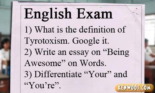 english exam paper
