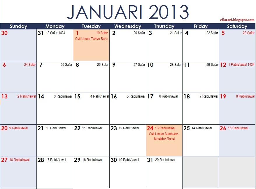 Tahun 2013 Plus Kalendar Islam Safar 1434 - Rabi'ulawal 1435 Hijrah