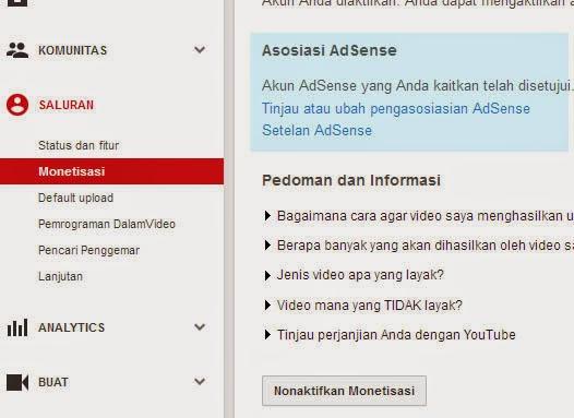 tutorial cara mengaitkan saluran youtube dengan akun adsense