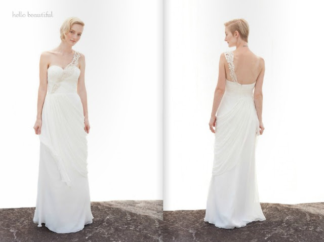 2013 chiffon lace one shoulder Wedding Dresses From Ivy And Aster