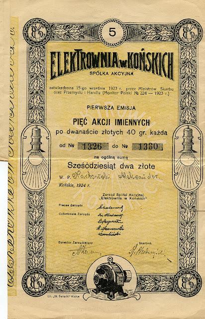 Elektrownia w Końskich - pięć akcji imiennych pierwszej emisji 1924. Dok. ze zborów KW.
