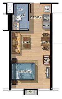 Studio A Katipunan One Bedroom Unit Plan