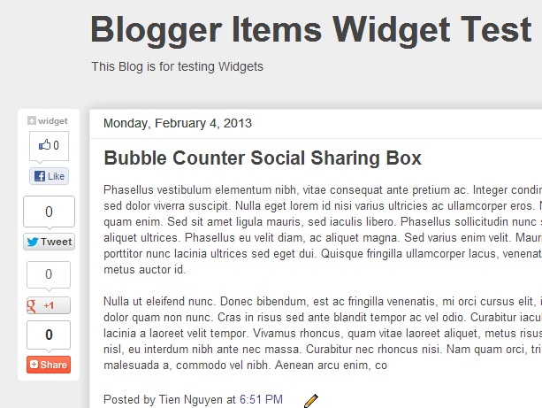 Light Color Scheme - Floating Bubble Counter Social Share Plugin
