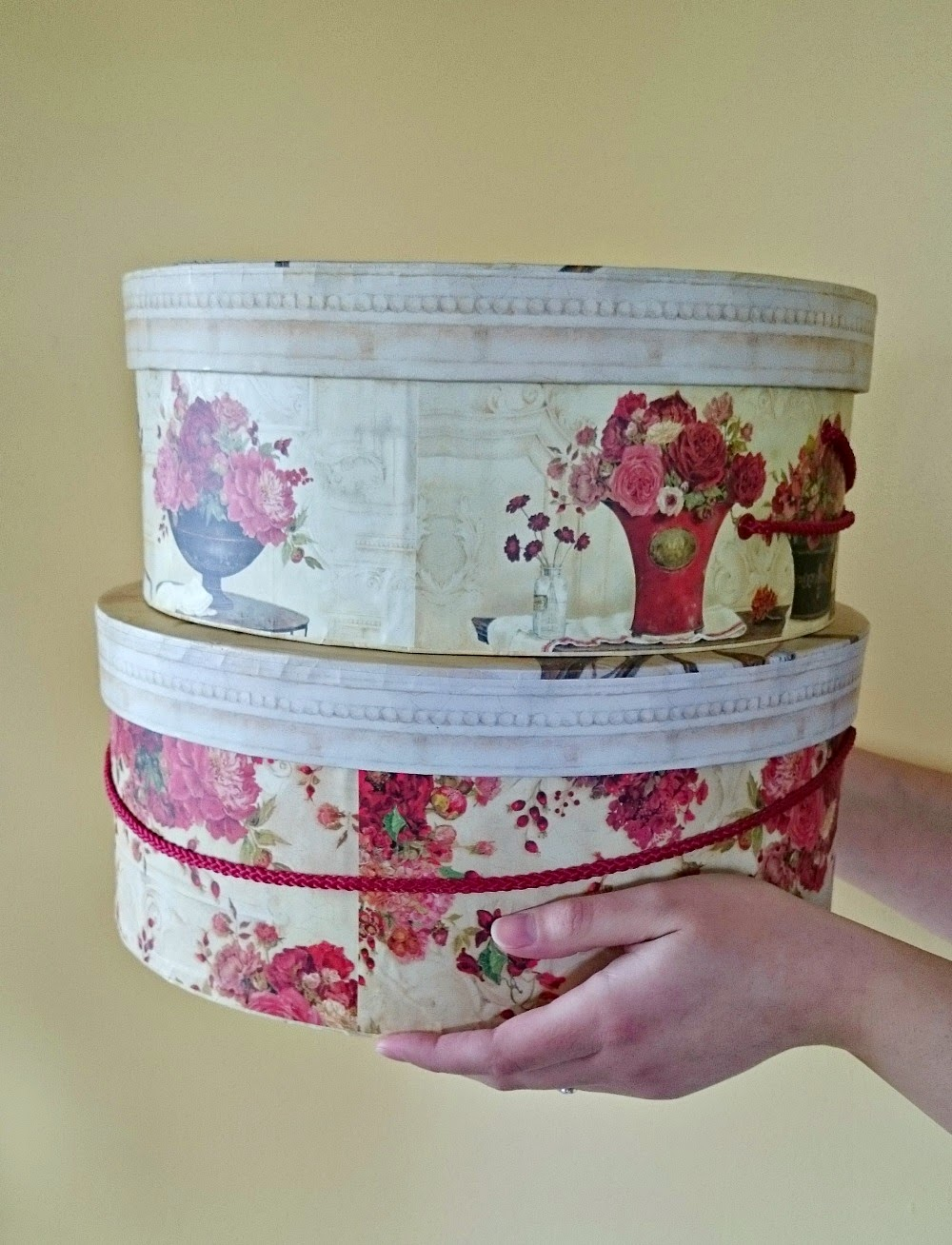 Craft hat boxes - We Plotted Our Moves Deciding How To Position The Pattern Of The Wallpaper On The Boxes We Snipped The Edges So We Could Fold Them Over Neatly Underneath