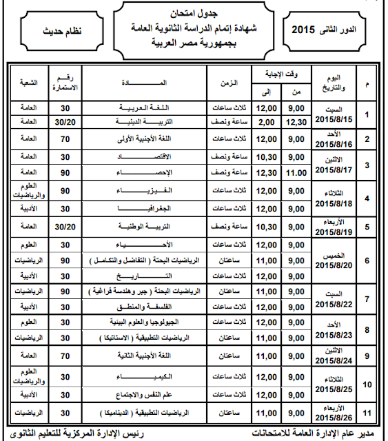 جدول امتحانات الملاحق والدور الثانى للثانوية العامة 2015