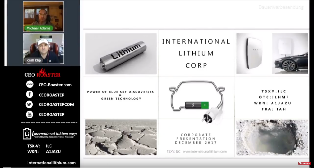 Energy rEVolution Underground: International Lithium - Full Version Of CEO-Roaster Web Conference W