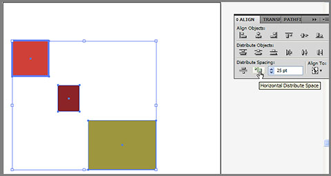 Distribute spacing in Adobe Illustrator