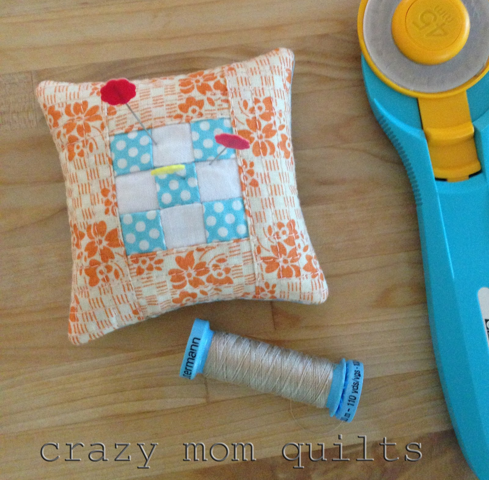 Crazy Mom Quilts Mini 9 Patch Pin Cushion Tutorial
