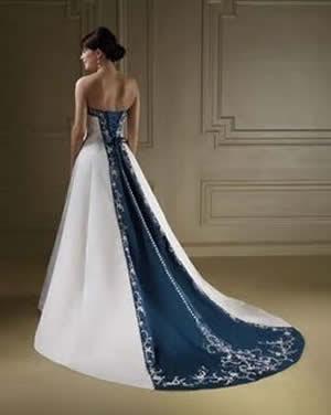 Vestidos de Noiva colorido, branco com azul