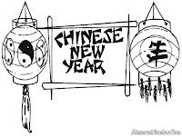 Mewarnai Gambar Spanduk Ucapan Tahun Baru Imlek