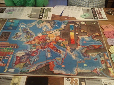 A familiar map, very early in the first game. With five players, Hamburg   (and the Baltic and Russia region) isn't included