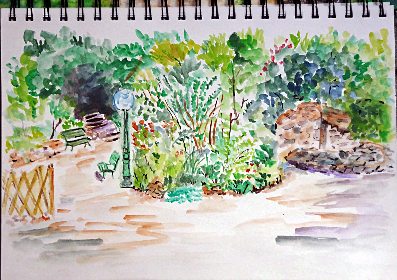 Art de vivre la peinture de peintrefiguratif croquis for Jardin de the